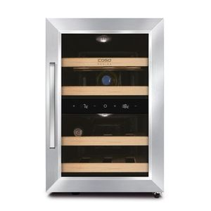Vitrina de vin CASO DESIGN 623, Doua zone de racire, Control digital temperatura, Capacitate 12 sticle, Inox